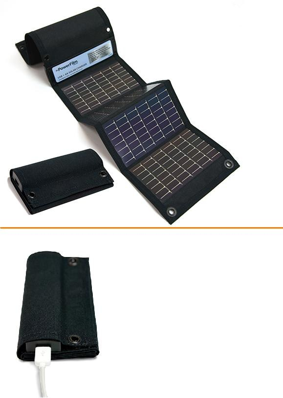 USB + AA Chargers black solar charger