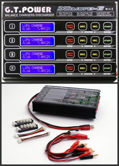G.T. Power X-Drive-6 Four 60W Quad Balance Charger (DC)